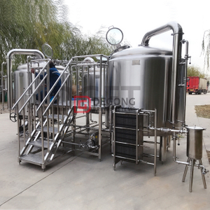 2000L stainless steel beer brewery equipment three vessels steam heated brewhouse with bottom agitator for Sweden